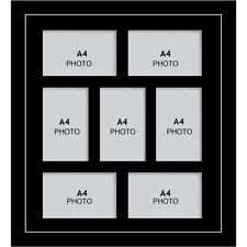 Large multi picture photo aperture frame A4 size with 7 openings