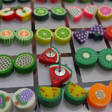 36 Pairs Cute Animal Flower Fruit Polymer Clay Women Ear Stud Earrings Adroit