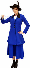 BLUE Victorian/Edwardian MARY POPPINS Fancy Dress Costume ADULT SIZES