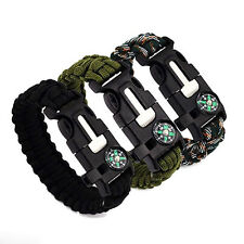 5 in 1 Outdoor Compass Flint Survival Whistle Hand Rope Escape Bracelet Optimal