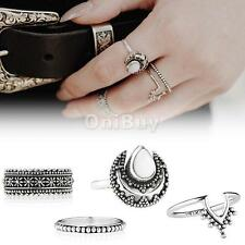 4pcs Boho Silver Gold Punk Carved Moon Vintage Ring Women Retro Finger Rings