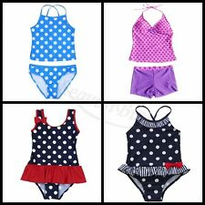 2Pcs Girls Kid Swimwear Set Top Bottom Polka Dots Straps Tankini Bikini Bath New