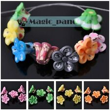 DIY New Findings 15*10mm Fimo Polymer Clay Flower Loose Spacer Beads Multi-Color