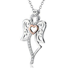 "925 Sterling Silver CZ Fairy Angel Wings Gold Heart Pendant Necklace /18"" Chain"