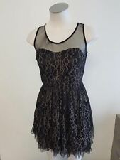 New Ajoy Ladies Black with Cream Swiggles Netted Evening Cocktail Dress Size 8