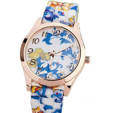Women New Quartz Fashion Silicone Watches Watch Jelly Floral Sports  1Pcs Girls