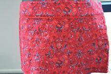 34 NWT Abercrombie Red  Skirt Floral Quilted Feel Mini Size 10 w30