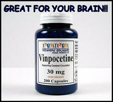 Vitamins Because VINPOCETINE 30 mg 200 Capsules Maximum Memory Brain Health