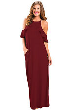 Sexy Wine Ruffle Sleeve Cold Shoulder Maxi Dress