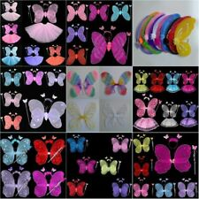 Kid Girl Cosplay Fairy Butterfly Wings Headband Dress UP Halloween Party Costume
