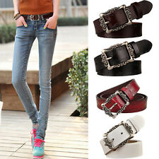 Vintage Leather Curved Buckle Belts Cow Skin Waistband Women Accessories