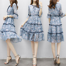 Korean Sweet Summer Fashion Women Flounced Sleeve Floral Waist Chiffon Dress