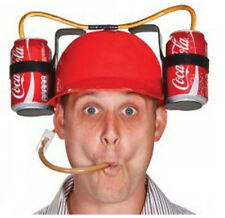 Cool Unique Party Game Beer Soda Dual Can Straw Drinking Hard Hat Helmet Fun NEW