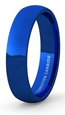 Mens Wedding Band Tungsten Ring Blue Polished Dome Comfort Fit 6mm