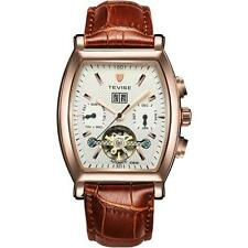 Mens Rectangle Automatic Mechanical Vintage Leather Strap Wrist Watch + Box M9O3