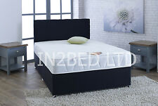 4FT SMALL DOUBLE BLACK FABRIC BED, MEMORY MATTRESS, HEADBOARD DOUBLE BED