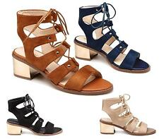 WOMENS LOW BLOCK HEEL SHOES ANKLE LACE UP CUT OUT GLADIATOR PEEPTOE SANDALS SIZE
