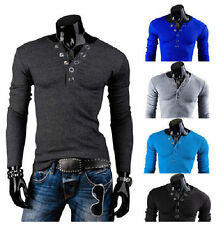 Hot Fashion Mens Casual Slim Fit T-shirts V-Neck Long Sleeved Solid Color Tee bg