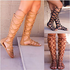 Women's Cut Out Shoes Peep Toe Flats Strappy Gladiator Knee High Boots Clubwear