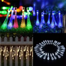 30LED Waterdrop Solar Powered String Light Garden Path Yard Landscape Lamp Decor