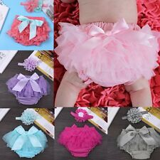 Baby Infant Girls Flower Headband +Ruffle Bloomer Diaper Nappy Cover Panties Set