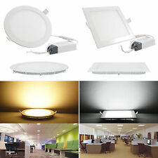3W/6W/12W/18W/24W LED Recessed Ceiling Panel Light Down light Lamp Round Square