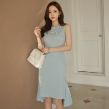 Korean Elegant Summer Fashion Women Long Section Sleeveless Solid Flounced Dress