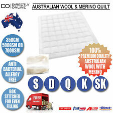 Australian Wool Quilt Duvet Doona Merino Bedspread Single Double Queen King New