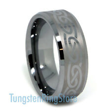 Classy Tungsten Band Celtic Design Wedding Band Engagement Ring Comfort Fit 8MM