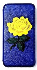 Woodys Originals Inc Yellow Rose Flower Blue-Black-Red Leather Cell Phone Cases