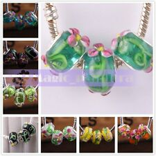 10pcs Big Hole Glass Lampwork Fit European Murano Charms Bracelet loose  Beads