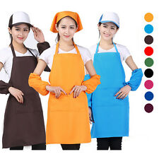 Women Soild Color Kitchen Restaurant DIY Cooking Dress Bib Apron With 2 Pockets