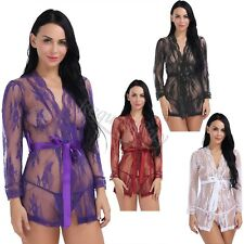 Women Sheer Mesh Lace Kimono Robe With G-String Sexy Lingerie Chemise Sleepwear