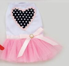 Dog Clothes Small Pink Heart Dress Tutu Skirt Summer Party Cotton Female New