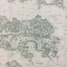 TOILE Green on Beige Drapery / Light Upholstery Fabric