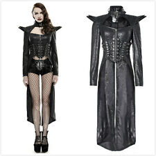 Punk-Rave Y-670 Female Black Goth Metal Military Steampunk Sexy Long Coat Jacket
