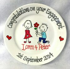 Wedding Anniversary Engagement personalised Hand painted plate Proposal design