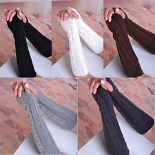 New Girl Women Arm Warmer Long Fingerless Knit Wool Mitten Winter Gloves st26