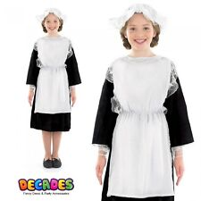 Girls Victorian Maid Costume Childs Fancy Dress Poor House Servant Kids Outfit