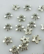 Tibetan Silver Charm Flower End Bead Caps Crafts Jewelry Findings Making 6mm