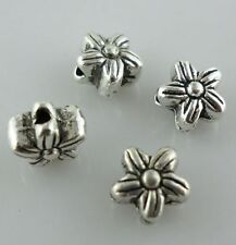 Tibetan Silver Charms Flower Spacer Beads Jewelry Findings Beading 5x6mm