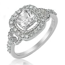 Sterling Silver Engagement Wedding Ring Princess Cut Cubic Zirconia CZ Ring 162