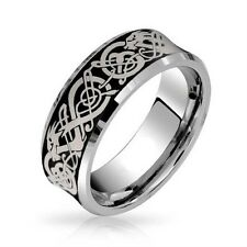 8mm Concaved Tungsten Ring Celtic Knot Silver Dragon Plated Wedding Engagement