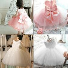 Kids Girls Wedding Bridesmaid Party Tulle Tutu Dress Pageant Princess Dresses