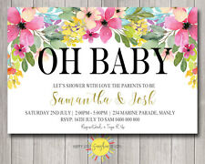 Custom Printable Baby Shower invitation Neutral Bright Colour Florals Pink Blue