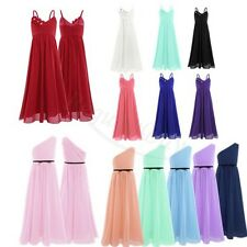 Kids Girls Chiffon Princess Dress Party Pageant Wedding Bridesmaid Formal Gown