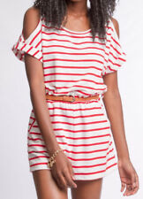 S-M-L NEW She + Sky Boutique Striped Cold Shoulder Belted Romper -Red  White