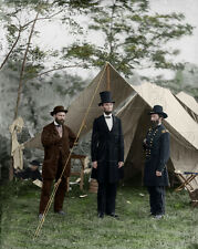 President Lincoln Gen McClernand Pinkerton Antietam Civil War Color Photo -04326