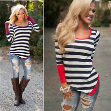 Fashion Neck Top Blouse Crew Casual T-Shirt Long Sleeve Sexy Striped Women