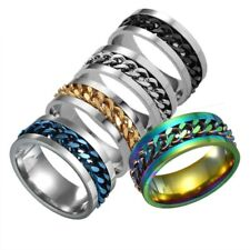 Sz 6-11 Ring Mens Wedding Band Silver/Black/Gold Rotatable Chain Stainless Steel